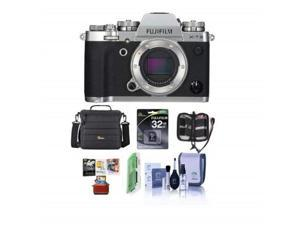 fujifilm xt3 mirrorless camera body, silver  bundle with 32gb sdhc u3 card, camera case, cleaning kit, memory wallet, card reader, mac software package