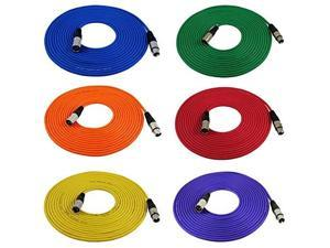 gls audio 25ft mic cable cords  xlr male to xlr female colored cables  25' balanced mike cord  6 pack