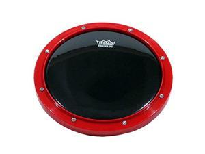 "remo rt001058 10"" red tunable practice pad with ambassador ebony drumhead"