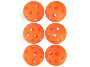crown sporting goods 6pack of 12inch plastic softballs  perforated practice balls for sports training & wiffle ball orange