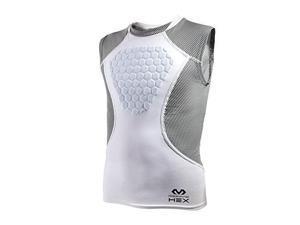 mcdavid hex sternum shirt, youth xlarge, white/gray