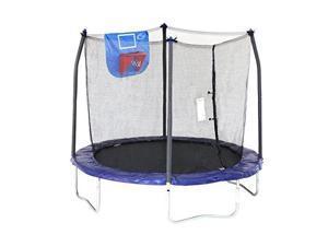 skywalker trampolines jump n' dunk trampoline with safety enclosure and basketball hoop, blue, 8feet