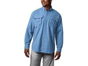 columbia men's pfg bahama ii long sleeve shirt , sail, x