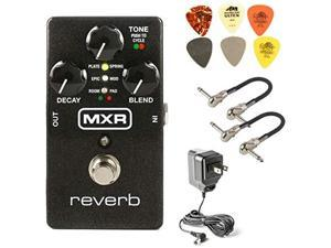 mxr m300 reverb analog guitar effects pedal bundle with 2 mxr patch cables, 6 dunlop picks, and 9v power supply