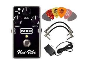 mxr m68 univibe chorus vibrato effects pedal bundle with ac/dc adapter power supply for 9 volt dc 1000ma, 2 metalended guitar patch cables and 6 dunlop guitar picks