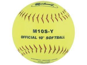 markwort 10inch synthetic cover/cork core softball, yellow, 1 dozen pack of 12