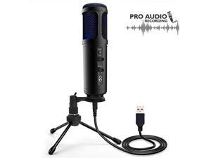 usb plug and play microphone  portable pro audio condenser recording desk mic w/adjustable gain, headphone jack, mute control, tripod stand for podcast streaming pc gaming youtube  pyle pdmiusb50