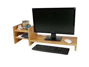 mind reader bmdeskbrn monitor stand riser organizer, 2 tier storage, desktop, monitor, laptop, eco friendly bamboo, brown
