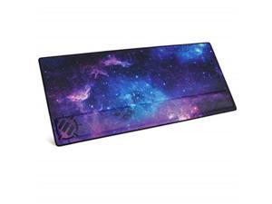 enhance xxl large extended gaming mouse pad with ergonomic memory foam wrist rest support 31.5 x 13.78 x 1 inches  antifray stitching & soft cushion mat surface galaxy