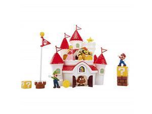 nintendo super mario deluxe mushroom kingdom castle playset with 5 figures & 4 accessories