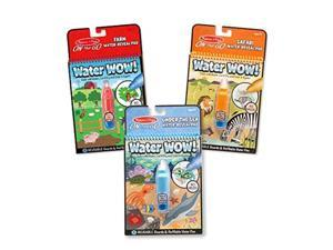 melissa & doug water wow! reusable color with water activity pad 3pack, farm, safari, under the sea