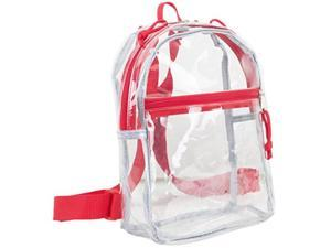 eastsport 100% transparent clear mini backpack 10.5 by 8 by 3 inches with adjustable straps, clear/red