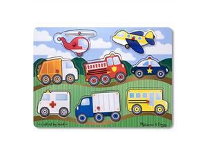 """melissa & doug vehicles wooden peg puzzle colorful vehicles artwork, extrathick wooden construction, 8piece, 15.5"""" h x 11.2"""" w x 1.6"""" l"""
