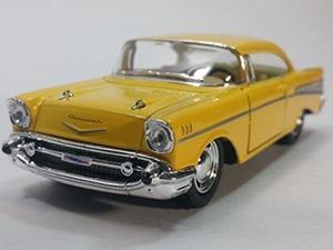 kinsmart canary yellow 1957 chevy bel air 2 door coupe 1/40 scale diecast car by kinsmart
