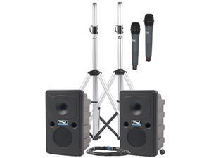 anchor audio go getter deluxe package dual with passive companion speaker and two wireless microphones