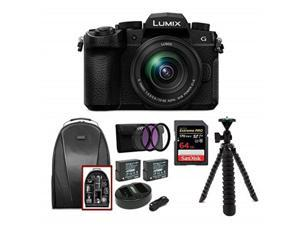 """panasonic lumix dcg95 mirrorless digital camera with 1260mm lens bundle includes 64gb 170 mb/s extreme pro sd card, dual battery & charger kit, backpack, 3pc filter kit, 12"""" spider tripod"""