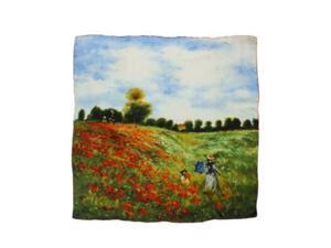 "dahlia women's 100% square silk scarf claude monet""poppy field in argenteuil"""