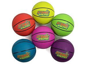 """atomic athletics 6 pack of neon rubber playground basketballs  youth size 5, 8.5"""" balls with air pump and mesh storage bag by kroo sports"""