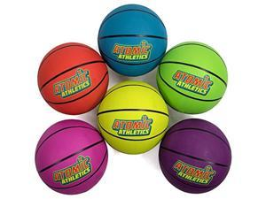 """atomic athletics 6 pack of neon rubber playground basketballs  regulation size 7, 9.5"""" balls with air pump and mesh storage bag by kroo sports"""