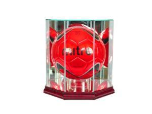 perfect cases mls octagon soccer ball glass display case, cherry