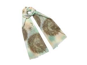 dahlia women's 100% wool scarfs, wraps, and shawls fuzzy dandelions, green
