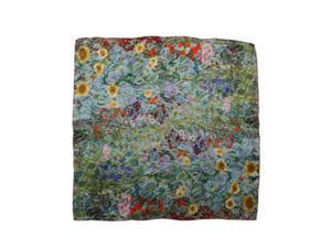 "dahlia women's 100% square silk scarf gustav klimt""farm garden with sunflower"""