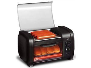elite cuisine ehd051b hot dog toaster oven, 30min timer, stainless steel heat rollers bake & crumb tray, world series baseball, 4 bun capacity, black