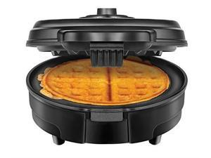 chefman antioverflow belgian waffle maker w/shade selector & mess free moat, round waffle iron w/nonstick plates & cool touch handle, measuring cup included, black