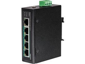 TRENDnet 5-Port Industrial Fast Ethernet PoE+ DIN-Rail Switch