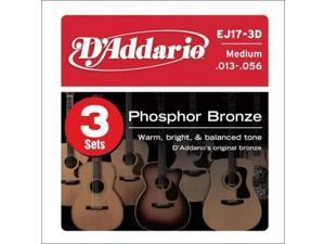 d'addario ej17 phosphor bronze medium acoustic strings 3pack