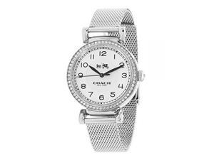 coach madison 14502651 silver stainless steel mesh strap glitz bezel women's watch