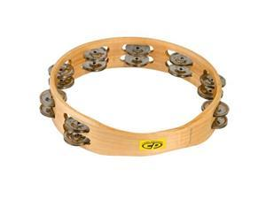 "cp390 10"" wood tambourine, headless, double row jingles"