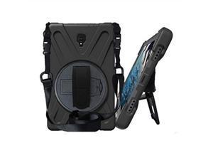 KIQ Heavy Duty Military Durability Shield Case, Tablet Cover, Kickstand, Shoulder Strap, Kickstand,, Palmstrap, Dual-Layer Protection For Samsung Galaxy Tab A 10.5 SM-T590 (Black)