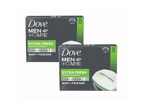 2 pack dove men + care body and face bar, extra fresh, 4 ounce, 8 count