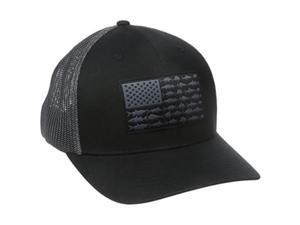 columbia men's pfg mesh ball cap, small/medium, black/fish flag