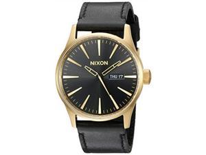 nixon sentry leather a129  gold/black  124m water resistant men's analog classic watch 42mm watch face, 23mm leather band