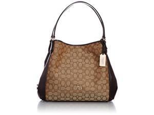 coach womens signature edie 31 shoulder bag li/khaki/brown shoulder bag