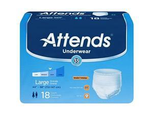 attends pullon large underwear fits waist 44 58 inches ap0730  18 / pack 4 packs / case