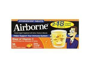 airborne effervescent health immune boosting formula zesty orange 36 tablets bonus size by airborne