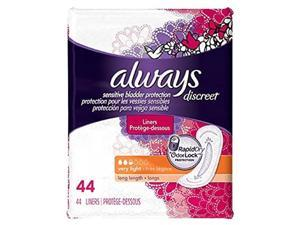 always discreet bladder protection very light, 44 liners, pack of 2.