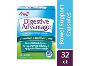 intensive bowel support probiotic supplement digestive advantage 32 capsules,defends against gas, bloating, abdominal discomfort, survives 100x betterthan regular 50 billion cfu