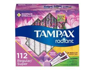 tampax radiant plastic tampons, regular/super absorbency duopack, unscented, 28 count  pack of 4 112 count total packaging may vary