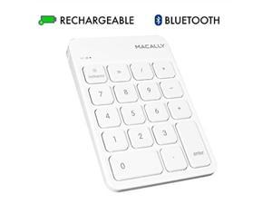 macally wireless bluetooth numeric keypad keyboard for laptop, apple mac imac macbook pro/air, ipad windows pc, tablet, or desktop computer rechargeable 18 key slim number pad numerical numpad  white