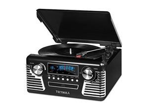 VICTROLA V50200BK V50    S RETRO RECORD PLAYER WITH BLUETOOTH  AND CD PLAYER   USB  BLACK
