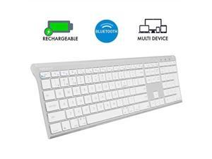 macally wireless bluetooth keyboard with numeric keypad for laptops, computers apple: mac, imac, macbook pro/air, ios, iphone, ipad, windows: pc and android, smartphones, tablets aluminum silver