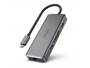 vava usb c hub, 8in1 usb c adapter with 4k hdmi, 1gbps rj45 ethernet port, usb 3.0, sd/tf card reader, 100w pd charging port for macbook/pro/air and type c windows laptops