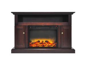 """Cambridge 47"""" Width Fireplace Mantel with Logs and Grate Electric Insert, Mahogany"""