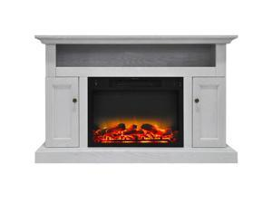 """Cambridge 47"""" Width Fireplace Mantel with Logs and Grate Crystal Electric Insert, White"""