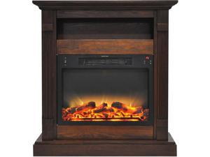 """Cambridge 33.9"""" Width Fireplace Mantel with Logs and Grate Electric Insert, Walnut"""