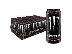 monster energy ultra black, sugar free energy drink, 16 ounce pack of 24